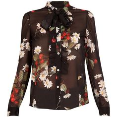 REDValentino Cherry Blouse (36.885 RUB) ❤ liked on Polyvore featuring tops, blouses, bow neck blouse, sheer long sleeve top, transparent blouse, silk blouses and brown blouse
