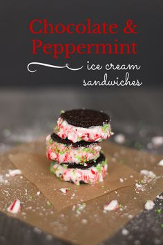 These delicious chocolate and peppermint ice cream sandwiches are easy to make with Oreos and store-bought ice cream. Delicious Chocolate, Delicious Desserts, Dessert Recipes, Candy Cane Cookies, Oreo Cookies, Peppermint Ice Cream, Sprinkle Cookies, Oreos, Desert Recipes