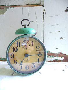 Farmhouse Chic | Farmhouse Chic Large Working Alarm Clock by BirdinHandVTG on Etsy