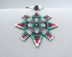 Seed Beaded Mandala Cross Necklace, Indigenous Art, Art Jewelry