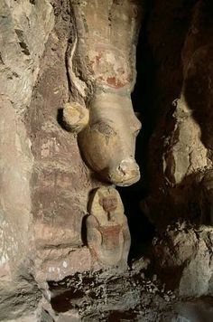 Statue of Hathor and the deceased Tomb of Netcherouymes high official of Ramesses II Saqqara