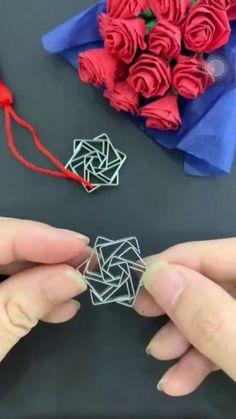 Cool Paper Crafts, Rope Crafts, Diy Crafts Hacks, Paper Crafts Origami, Diy Crafts For Gifts, Creative Crafts, Diy Paper, Instruções Origami, Origami Rose