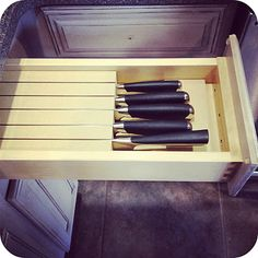 Customized drawer organizers and in-drawer knife block. Ikea Pantry, Farmhouse Kitchen Island, Concrete Wood, Drawer Dividers, Big Kitchen, Kitchen Drawers, Stone Countertops, Kitchen Organization, Getting Organized