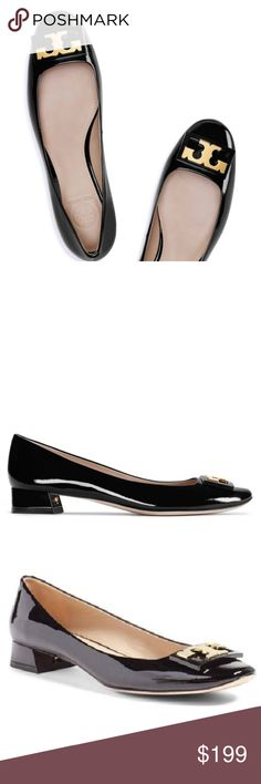 ❗️LAST CHANCE❗️ Tory Burch Gigi Blk Patent 8.5 NWT PRICE IS FIRM; SOLD OUT ONLINE. Last chance before I return them tomorrow!  Crafted in patent leather, it is the perfect middle ground between a heel and a flat. The style has a classic round toe, a flared block heel and a framed T logo inside an enameled plaque, lending graphic detail to the otherwise minimal silhouette. Part gamine, part mod and the ideal height for day to evening, it works w/ everything from slim pants to tailored skirts…