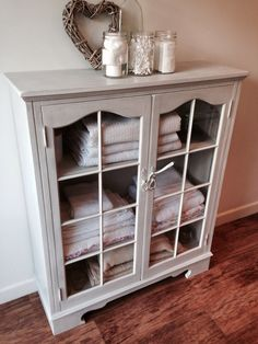 Www.facebook.com/livedandloved  Beautiful hand painted pale grey linen cupboard, antiqued finish. Truly stunning £295. Grey Cupboards, Linen Cupboard, Tiles Texture, Bathroom Humor, Wood Shelves, Rustic Chic, Laundry Room, Painted Furniture, House Ideas