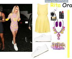 Звездный стиль: Рита Ора,  Rita Ora style: look with the dress and sneakers
