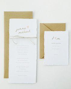 Jenna Wedding Invitation / Kraft Wedding Invitation / Rustic / Simple / Beach Wedding / Minimalist Invite / Hand Torn Paper / Deckled Edges