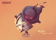 These Adorable Print Ads for Nutcase Helmets Show Protective Headgear Through Time – Adweek