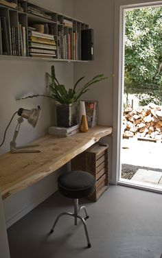 floating wood slab desk