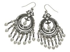 CLAIRE Antiqued matte silver plated, crystal, fishhook earring.  Item #30979
