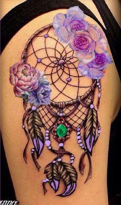Lavender flower dream catcher tattoo