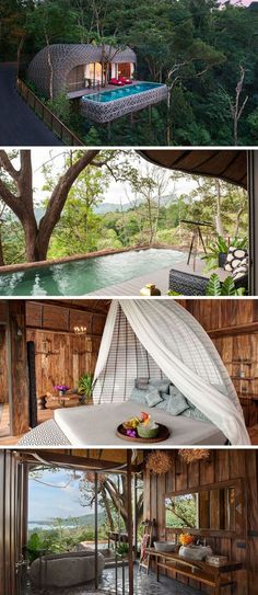Travel Idea – At the Keemala resort in Thailand and situated up in the trees, criss-crossing strips cover the outside of this villa to create an exterior that resembles a birds nest. Villa Design, House Design, Piscina Hotel, Places To Travel, Places To Go, Travel Destinations, Phuket Resorts, Bungalows, Pool Houses