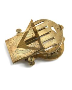 An important English brass analemmatic dial.    A very fine 18th century English brass analemmatic dial signed Thomas Wright London, 1740