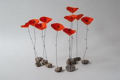 Red poppy wire & paper flower attached to by PaperBeing Best Picture For DIY Fabric Flowers with stems For Your Taste You are looking for something, and it is going to tell you exactly what you are lo Wire Flowers, Paper Flowers Diy, Flower Crafts, Fabric Flowers, Flower Art, Paper Mache Crafts, Wire Crafts, Diy And Crafts, Fleurs Diy