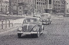Ink stamp pointillism: totally crazy but great! / Federico Pietrella via Visual News Amazing Paintings, Amazing Art, Photo Recreation, Colossal Art, City Scene, Ink Stamps, Italian Artist, Tampons, Pointillism