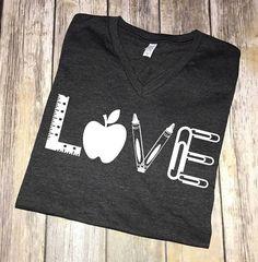 Love Teacher Shirt – Teacher T-shirt – Teacher Tees – Unisex or Women's – Cute Teacher Shirts – Teacher Appreciation Gift Preschool Teacher Shirts, Teaching Shirts, Teacher T Shirts, T Shirts For Teachers, Love Teacher, Teacher Style, Teacher Wear, Monogram T Shirts, Vinyl Shirts