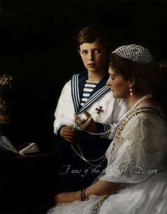 Tsarevich Alexei Nikolaevich Romanov with his mother Empress Alexandra Feodorovna