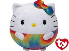 Ty Beanie Ballz Hello Kitty Rainbow Plush Ty Beanie Babies are fun collectibles. This fun Rainbow Hello Kitty Ty Beanie Ballz is so cute. Ty Beanie Ballz, New Beanie Boos, Decoracion Hello Kitty, Ty Peluche, Stuffed Animal Cat, Stuffed Animals, Stuffed Toys, Hello Kitty Toys, Curious Cat