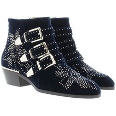 Chloé Boots & Booties - Susanna Short Velvet Boots Blue Lagoon - in... ($1,030) ❤ liked on Polyvore featuring shoes, boots, ankle booties, ankle boots, blue, floral booties, bootie boots, pointy booties, short booties and buckle booties
