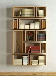 7 Reliable Cool Tips: Large Floating Shelf Decor floating shelves apartment bookshelves.Floating Shelves Ideas Shoe Storage how to build floating shelves subway tiles.How To Decorate Floating Shelves Office. Creative Bookshelves, Bookshelf Design, Bookshelf Ideas, Floating Bookshelves, Wall Bookshelves, Shelving Ideas, Modern Bookshelf, Diy Bookcases, Plywood Shelves