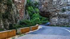 Roads under cliffs, in the gorges that run through Evritania region, in central Greece