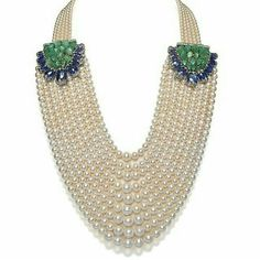 Beautiful Pearl Necklace with diamonds, Colombian emerald & tanzanite.