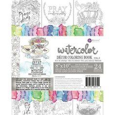 Prima Marketing Coloring Book Vol. 3 Watercolor Decor Faith, 24 Sheets