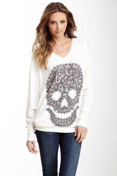 V-Neck Dolman Sleeve Tunic Sweater