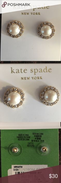 Kate Spade pearl studs Really beautiful Authentic Kate Spade pearl earrings. Brand new. kate spade Jewelry Earrings