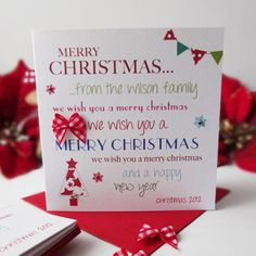 Multi-pack individually personalised 'mini' Christmas Cards from Simply Lovely.