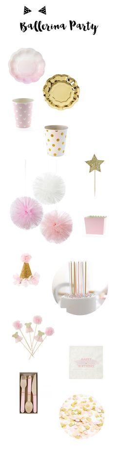 Vaisselle et accessoires des de décoration pour un anniversaire sur le thème des ballerines. A retrouver sur www.rosecaramelle.fr #ballerine #deco #fete #anniversaire #birthday #tutus #pompons #kids #enfants #party #fete #ballerina #decoration