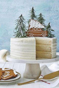 Homemade White Cake : For this year's Big White Cake, we decided to trade in .Homemade White Cake : For this year's Big White Cake, we decided to trade in the bells, whistles, and bling for a layer cake that's as simple as a walk in the woods. Best Christmas Recipes, Christmas Treats, Christmas Baking, Christmas Fun, Holiday Recipes, Christmas Decorations, Christmas Parties, Christmas Cookies, Dessert For Christmas Dinner