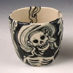 """Live it Up"" handmade porcelain cup by Pam Stern"