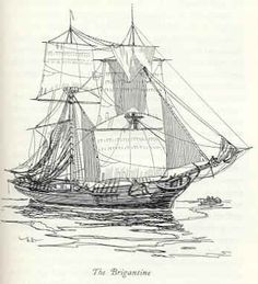 A brigantine, one of the most successful types of pirate vessels due to its combination of good size, speed and maneuverability.    Brigantines were two-masted ships in use for coastal trading in American waters. The foremasts carried square-rigged sails, while the mainmasts carried a fore-and-aft-rigged mainsail and square-rigged top sail. They were up to 80 feet long and could carry 100 men and 12 small cannon.