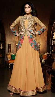 Shilpa Shetty, Beige Poly Georgette Resham Stone Sequence Embroidered On Jacket Beautiful Anarkali S