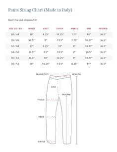 Howard Yount Made in Italy pants size chart