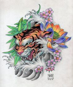 tigre by tertadz on DeviantArt Japanese Tiger Tattoo, Japanese Tattoo Designs, Japanese Sleeve Tattoos, Tattoo Sketches, Tattoo Drawings, Body Art Tattoos, Tiger Tattoodesign, Dragon Oriental, Rite De Passage