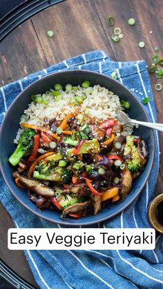 Vegetarian Dinners, Vegan Dinner Recipes, Vegetable Recipes, Whole Food Recipes, Vegetarian Recipes, Cooking Recipes, Vegetarian Rice Bowl Recipe, Easy Vegan Meals, Veggie Rice Bowl