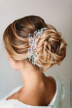Купить Свадебное украшение для волос - белый, украшение, украшение для волос, украшение для прически, свадебное украшение