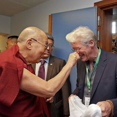 HHDL playfully greeting his old friend Richard Gere as he arrives for the opening session of the 7th International Conference of Tibet Support Groups in Brussels, Belgium on September 8, 2016. Photo by Olivier Adam #dalailama