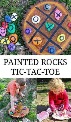 DIY painted tic-tac-toe rocks - my kids LOVE this!!!!