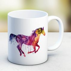 Horse Mug Watercolor Ceramic Mug Unique Gift Bird Coffee Mug Animal Mug Tea Cup Art Illustration Cool Kitchen Art Printed Horse, MU62 by artRuss on Etsy