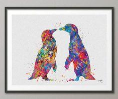 Lámina acuarela Penguin boda pared arte Giclee pared por CocoMilla
