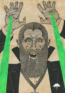 Mulga-the-Artist-Dracula-Darell-Prepare-to-meet-thy-doom-haha-vampire-laser-beams-lazer-beard-suit-tuxedo-medal-star-slick-hair-count-blodd-sucking-man-joel-moore-art-illustration-posca-fluro-horror-picture-drawing-