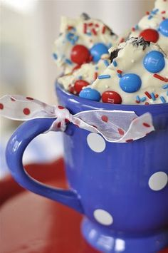 Red, White, and Blue Cookie Bark -- Ingredients: Oreos, Pretzels, Vanilla Flavored Almond Bark Coating, Red- White-and Blue M& M's