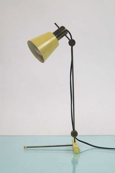 Tito Agnoli; Brass and Enameled Aluminum Table Lamp, 1955.
