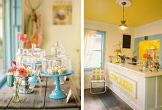 LOVE this cute shop! enjoy cupcake shop in a 1964 restored vintage Shasta airflyte trailer, they wanted their guests to feel as if they are stepping into the trailer (full of cupcakes!).