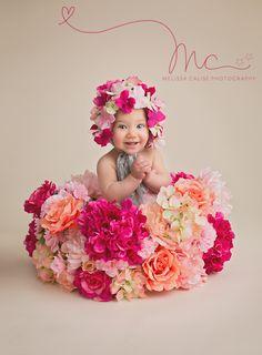 Melissa Calise Photography (Baby Girl Sitter Flowers Pink Peach Fuschia Basket Hat Bonnet 8 Months Posing Ideas Photo Session Shoot DIY)