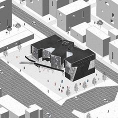 architektur diagramme via in We Trust Library Architecture, Architecture Graphics, Architecture Drawings, Architecture Design, Axonometric Drawing, Architecture Presentation Board, Archi Design, Urban Planning, Planer