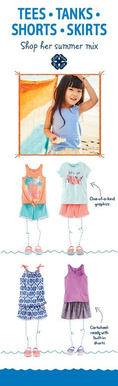 Make oshkosh.com/mixkit your first stop this season for girls summer packing! With over 600 combos of tees, tanks, shorts and skirts (easy jersey knits, bold graphics, tropical prints…) summer's the bag!